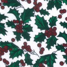 White Holly Print Christmas Polycotton Fabric x 0.5m